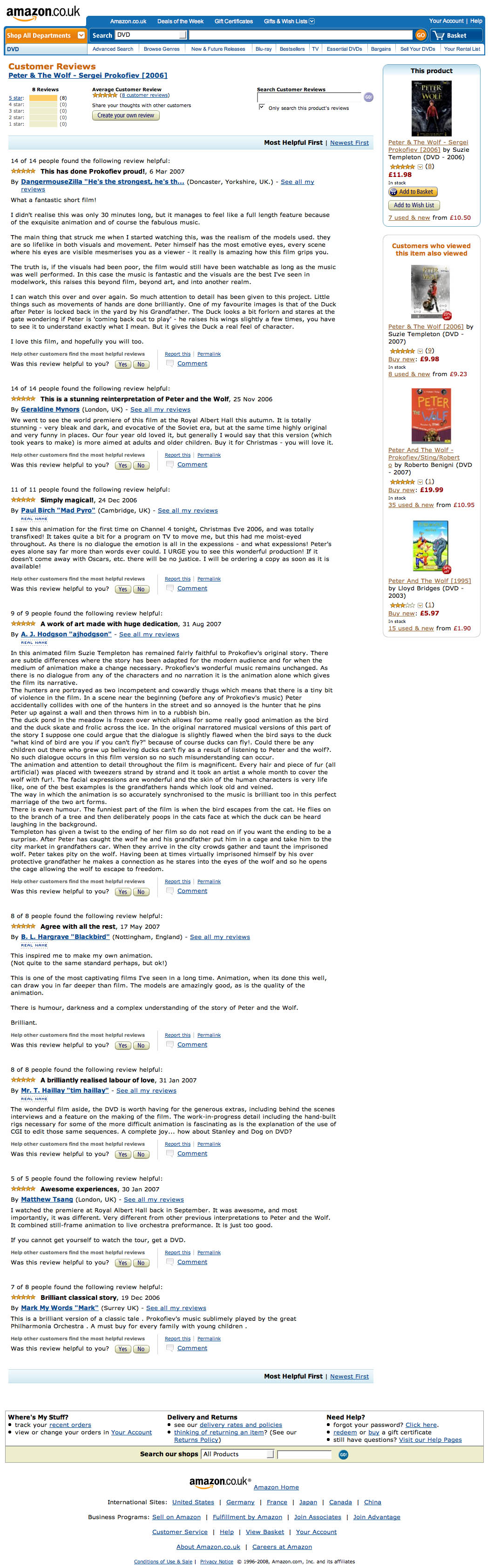 Amazon.co.uk customer reviews of Peter and the Wolf