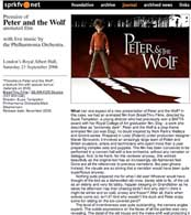 Serge Prokofiev Foundation website review of Peter and the Wolf