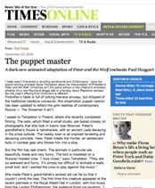 the times article on peter and the wolf  'the puppet master'