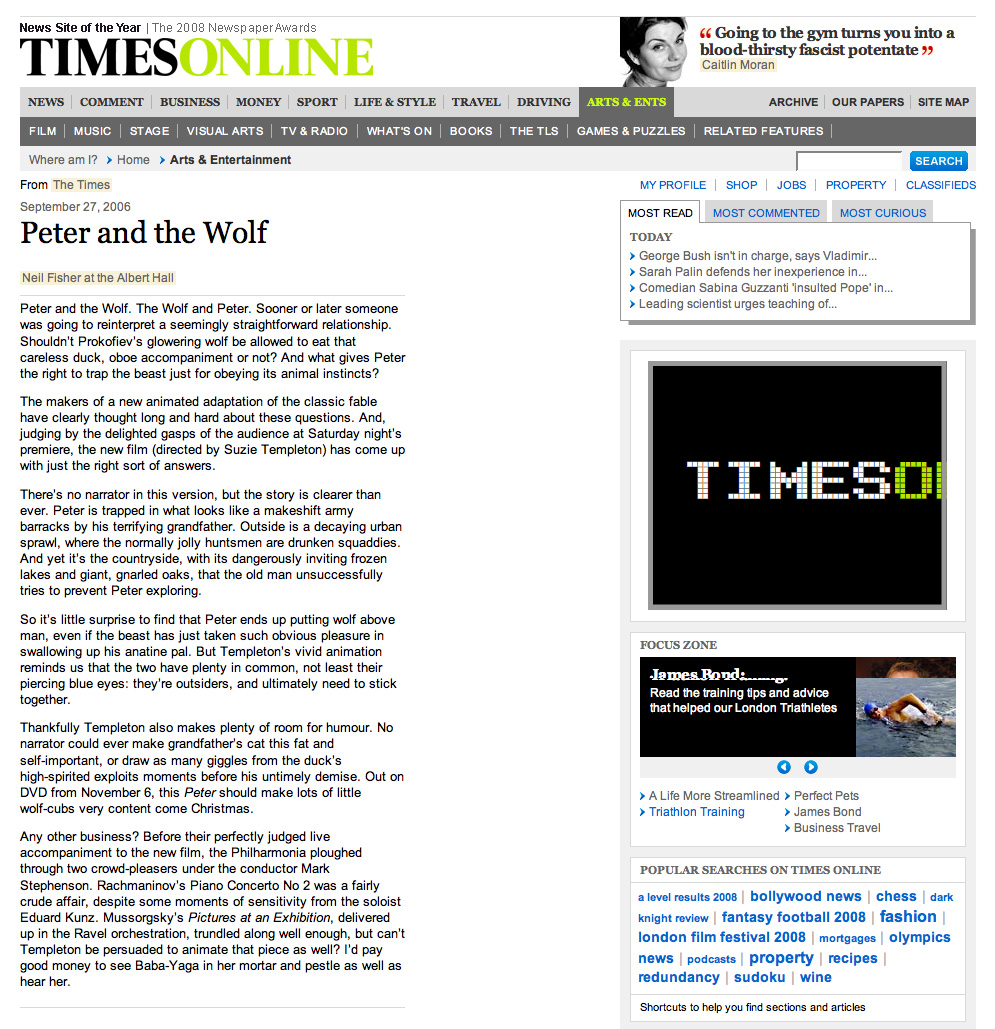 The Times review of the Royal Albert Hall premiere of Peter and the Wolf